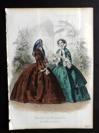 Journal des Demoiselles C1850 Antique Hand Col Fashion Print 45